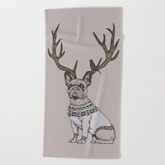 Deer Frenchie Beach Towel