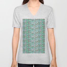 pond painting, with jungle plants, flowers and animals Unisex V-Neck