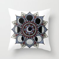 moon phase Throw Pillows featuring Moon Phase Mandala by Paula Savage