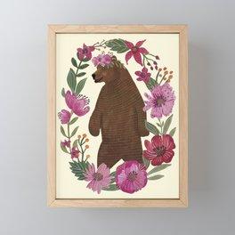 Floral Bear Framed Mini Art Print