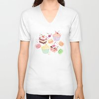macaroon V-neck T-shirts featuring sweet pattern aka cake , cupcake and macaroon by Marta Olga Klara