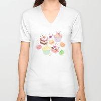 macaroon V-neck T-shirts featuring sweet pattern aka cake , cupcake and macaroon by Marta Olga Klara