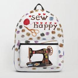 Sew Happy Vintage Singer Machine and Bobbins Backpack