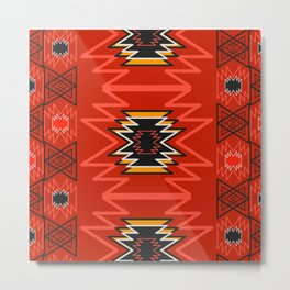 Ethnic lines in red Metal Print