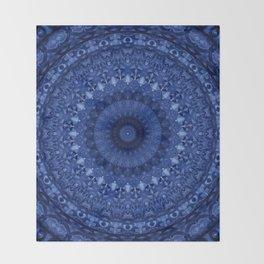 Mandala in deep blue tones Throw Blanket