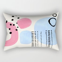 Fun Colorful Abstract Mid Century Minimalist Pink Periwinkle Shapes Black Patterns Rectangular Pillow