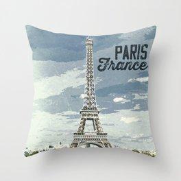 Paris, France / Vintage style poster Throw Pillow