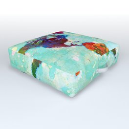 Abstract Map of the World Outdoor Floor Cushion