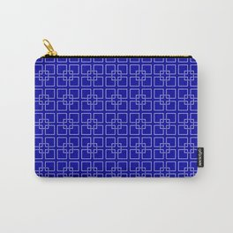 Dark Earth Blue and White Interlocking Square Pattern Carry-All Pouch