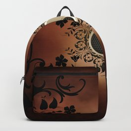 The sign ying and yang with flowers Backpack