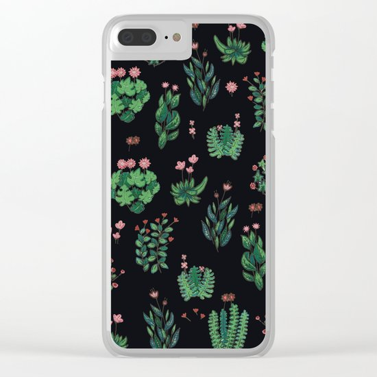 black and green garden Clear iPhone Case