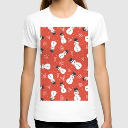 Snowmen on Red Christmas Pattern Digital Graphic Design T-shirt