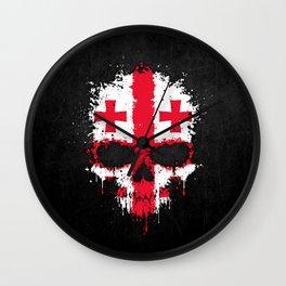Flag of Georgia on a Chaotic Splatter Skull Wall Clock
