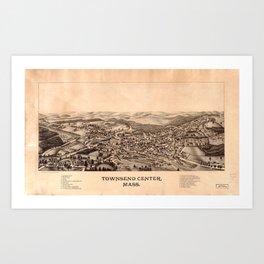 Aerial View of Townsend Center, Massachusetts (1889) Art Print
