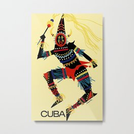 Vintage Cuba Costumed Dancer Travel Metal Print