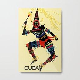 Vintage Cuba Costumed Dancer Travel Metal Print