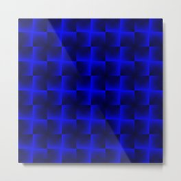 Rotated rhombuses of blue crosses with shiny intersections. Metal Print