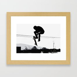 Flying High Skateboarder Framed Art Print
