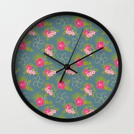 hawaiian floral Wall Clock
