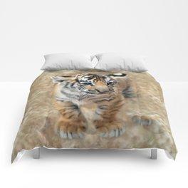 Tiger cub emerging Comforters