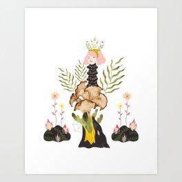 Cloud Collar Mushroom Totem Art Print