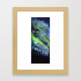 Galaxy Nebula Watercolor Northern Lights Aurora Borealis Framed Art Print