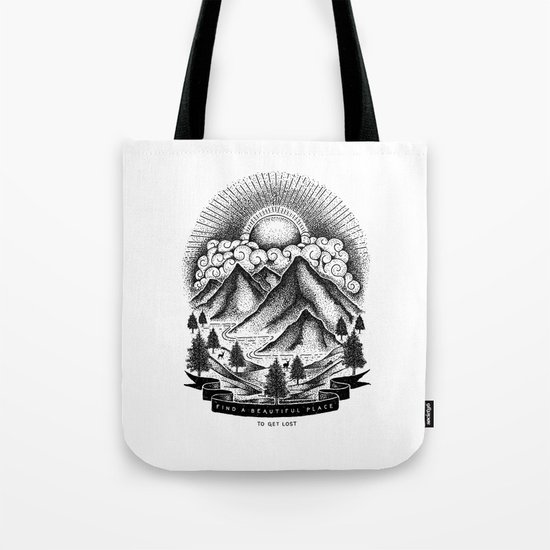 FIND A BEAUTIFUL PLACE TO GET LOST (White) Tote Bag