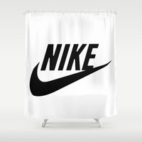 nike Shower Curtains featuring NIKE by I Love Decor
