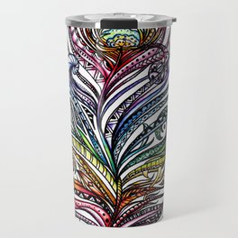 Ornate Rainbow Zentangle Feather Travel Mug