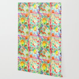 Happy Flowers Collage Abstract Wallpaper