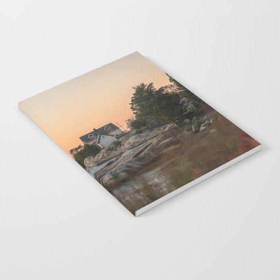 Autumn Lighthouse at sunset Notebook