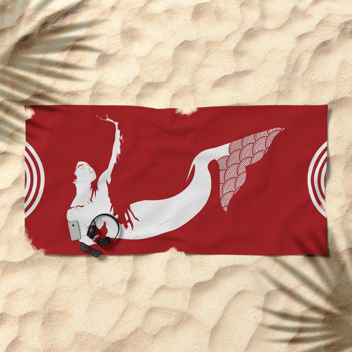 Merman - Red & White - Mermay 2019 Beach Towel