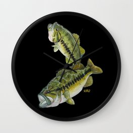 Two Largemouth Bass - Above And Below Wall Clock