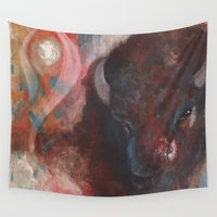 buffalo Wall Tapestries featuring Buffalo Guide by Retta Ritchie-Holbrook