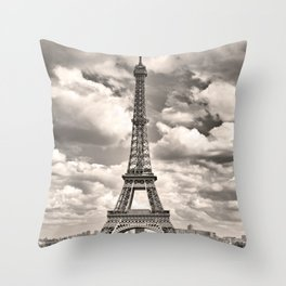 Eiffel Tower in sepia in Paris, France. Landmark in Europe Throw Pillow