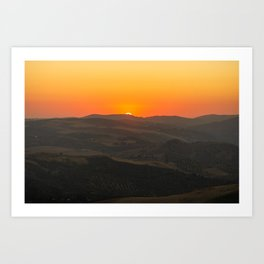 Dramatic sunset view of olive farms from mountain village Zahara de la Sierra in Spain Art Print