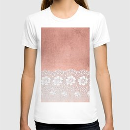 White floral luxury lace on pink rosegold grunge backround T-shirt