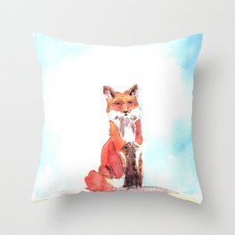 red fox in watercolor Throw Pillow