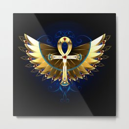 Gold Ankh with Wings Metal Print