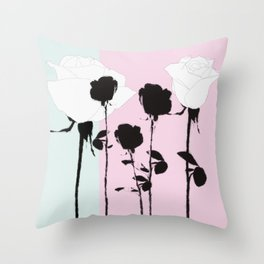 Roses with ink Throw Pillow