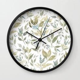 Watercolor print of leaves. Wall Clock