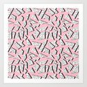 Crunk - throwback retro memphis design style minimal pattern print pink white and black by wacka