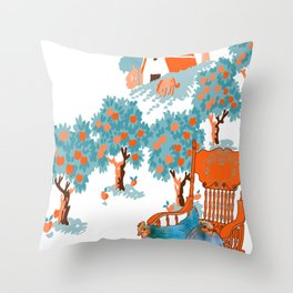 Farm Animals in Chairs #4 Chicken Throw Pillow