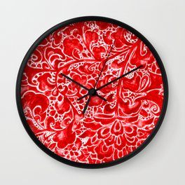 Watercolor Chinoiserie Block Floral Print in Ruby Red Porcelain Tiles Wall Clock