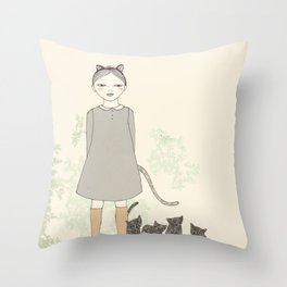 Cat Girl Throw Pillow
