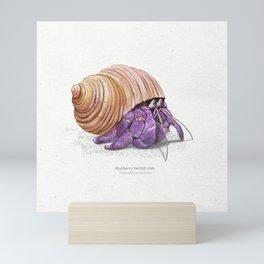 Blueberry hermit crab art print Mini Art Print
