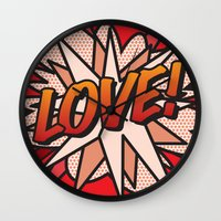 comic book Wall Clocks featuring Comic Book LOVE! by The Image Zone