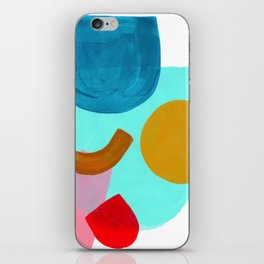 Minimalist Abstract Fun Mid Century Colorful Shapes Playful Pastel Blue Teal Yellow Red pink Shapes iPhone Skin