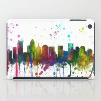 north carolina iPad Cases featuring Charlotte, North Carolina Skyline by Marlene Watson