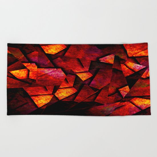 Fragments Of Fire - Abstract, geometric, fragmented pattern Beach Towel